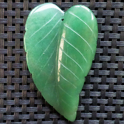 70x40x8mm Beautiful Carved Green Aventurine Leaf Pendant bead Z22