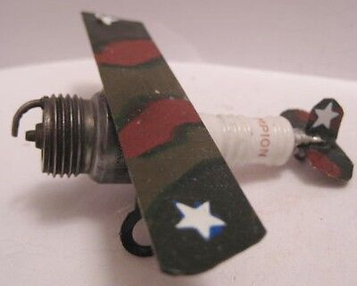 Old Folk Art - Automotive Champion Spark Plug Military Airplane Sculpture