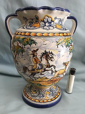 JARRÓN DE CERÁMICA (CABALLERO CAZA) A of Spanish Pottery VASE HORSE HUNTING *
