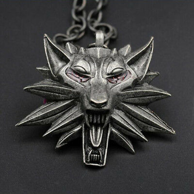 The Witcher Wild Hunt III Necklace Wolf Medallion 3 Head Chain Pendant Geralt