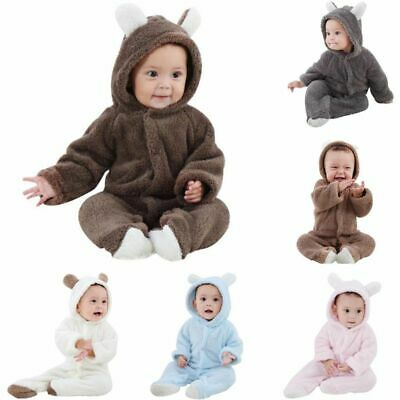 Newborn Baby Boy Girl Romper Hooded Jumpsuit Bodysuit Outfits Bébé Ensembles
