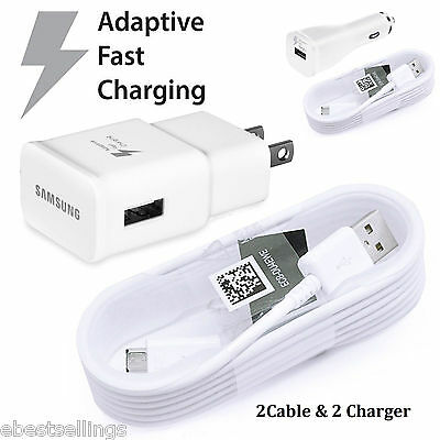 Samsung Adaptive Fast Rapid Wall Car Charger Cable Galaxy Note 4 5 S5 S6 S7 Edge