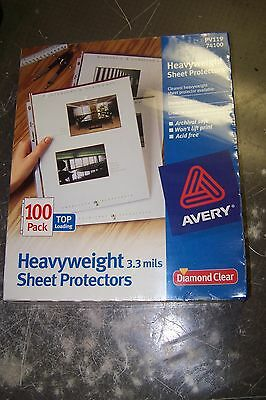 New Avery 100 Count Clearest Heavyweight Sheet Protectors Pv119 74100