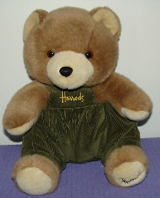 "Harrods Knightsbridge Bear With Green Corduroy Overalls 14"" Tall Vhtf ~ Cb"