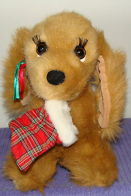 """Dakin Su Sona Puppy Dog With Christmas Stocking In Mouth 12"""" Vintage 1993 ~  Bh"""