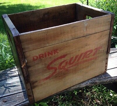 Vintage 1957 Squirt Wood Crate Detroit, Michigan Advertising shipping Pop DECOR