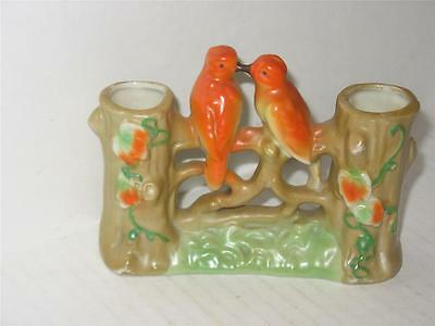 Vintage Double Vase with 2 Orange Birds on Branches Japan