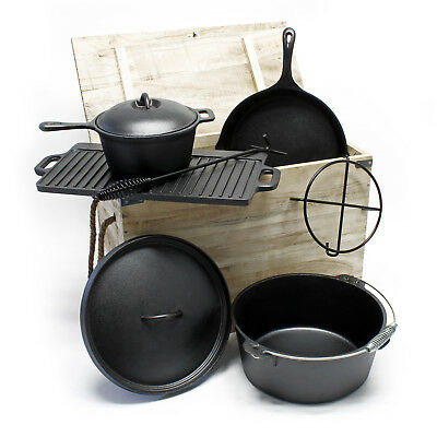Dutch oven camping cookware set 7 pcs Cast iron Kettle Pan Grill Wooden box