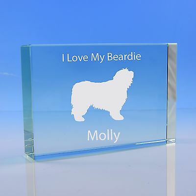 Bearded Collie Dog Gift Personalised Hand Engraved Paperweight: Dog Lover Gift