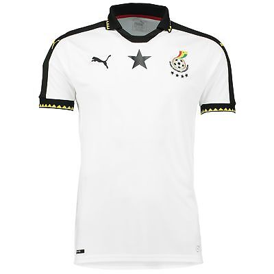 Puma Mens Gents Football Soccer Ghana Home Shirt Jersey Top 2016-17 - White