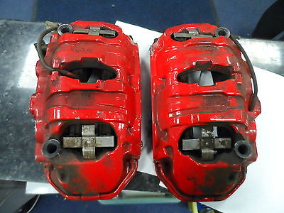 Porsche Cayenne V6 2014 958 7P5 Pair Front Brembo Red Brake Calipers 7PP 615 123