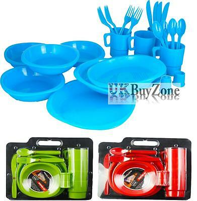 26 Piece Large Plastic Picnic Camping Party Dinner Plate Mug Cutlery Set