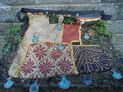 Antique Asian embroidery hanging objects - south Asian antique fabric and metal