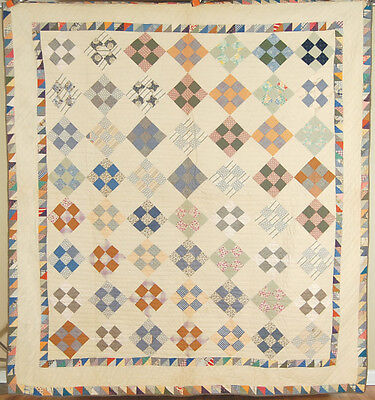 GORGEOUS Vintage 20's 9-patch on Point Antique Quilt ~Double Sawtooth Border!