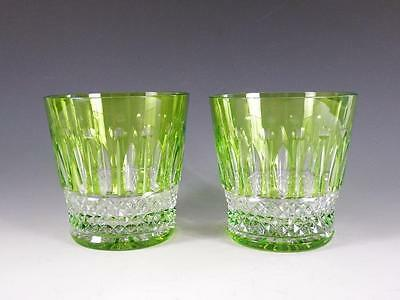 (2) St. Louis Crystal Tommy Chartreuse Old Fashioned Tumblers Glasses - MINT