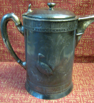 ANTIQUE ORNATE FOUL ENGRAVINGS MERIDEN SILVER PLATE CO. ICE WATER PITCHER c.1880