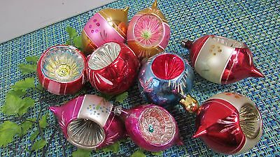 9 Vtg Mercury Glass Striped Indent Christmas Ornaments Round Teardrop, 3-3 1/2""