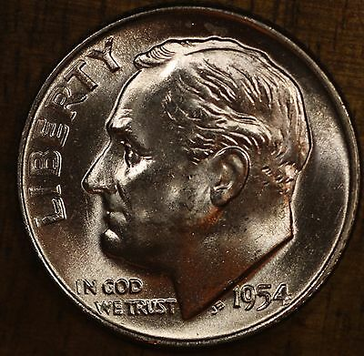 1954 D Roosevelt Dime CH BU LUSTER! 90% Silver US Coin