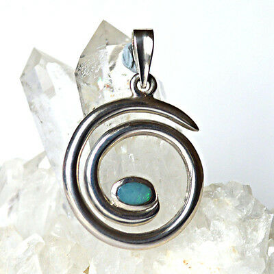 Blue-Green Fire Opal 925 Silver Spiral of Life Pendant~Reiki~New Pagan Jewellery