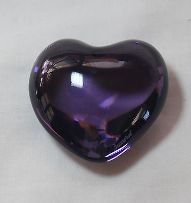 Baccarat  PURPLE or Amethyst PUFFED HEART Paperweight,  double signed