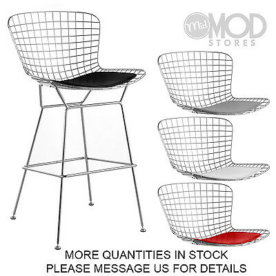 Chrome Wire Barstool with Seat Pad Wireback Bar Stool Modern Mid Century