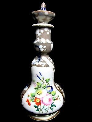 """OLD PARIS ANTIQUE  7"""" COLOGNE / PERFUME BOTTLE HAND PAINTED and Marbleized"""