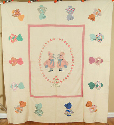 EXCEPTIONAL Vintage 30's Sunbonnet Sue Applique Antique Quilt Top ~BEST OF KIND!
