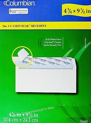 Columbian No. 10 Security Envelopes 4-1/8 x 9-1/2 Grip Seal, 40 80 250 or 500