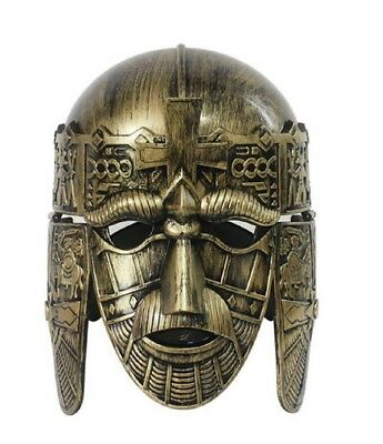 Gold Roman Spartan Sutton Hoo Helmet Face Mask Medieval Costume Crusader Knight