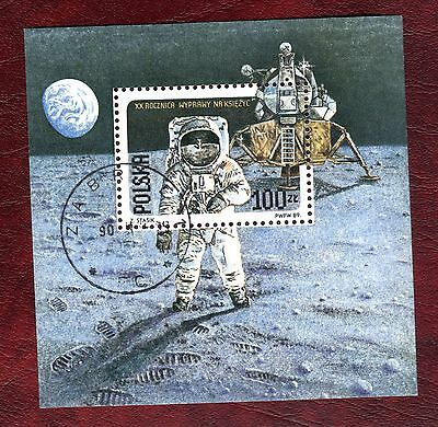 POLAND STAMPS- XX anniversary of Moon landing, block, 1989 (#)