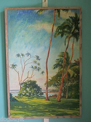 "Rare Orig. Painting By Arthur Johnsen 1952-2015, ""richardson's Beach"" Hawaii"