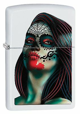 Zippo Windproof White Matte Lighter With Day Of The Dead Lady, 29400, New In Box