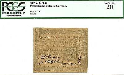 1772 ~ Pennsylvania 2 Shillings Colonial Currency Note ~ Nice Pcgs Very Fine 20