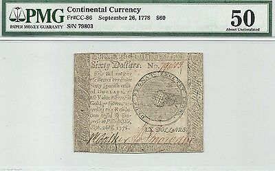 1778 $60 American Revolution Continental Currency - Pmg About Uncirculated 50