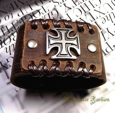 Men's Cross Theme New Age Fashion Character Hip Leather Bracelet Wristband