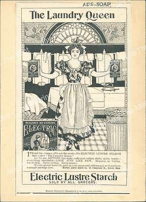 AJJ-426 Antique Print The Laundry Queen Electric Lustre Starch Advertisement AD