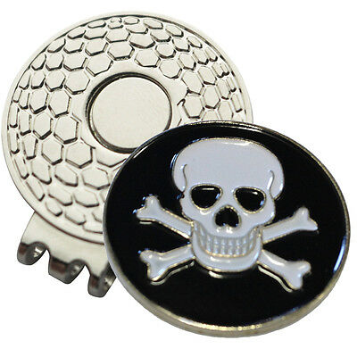 1 x New Magnetic Hat Clip + Skull+Bones Golf Ball Marker - For Golf Hat or Visor