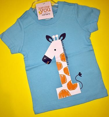NEW 1st Birthday GIRAFFE Baby Boys Shirt 12 18 Months 1 Year Gift Carters Party