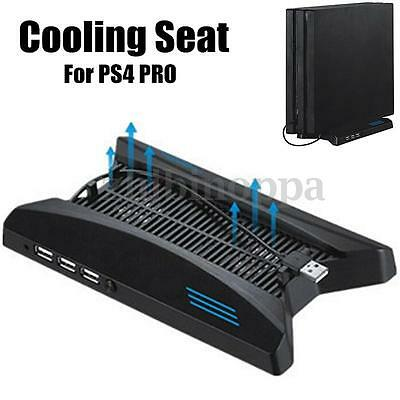 3 USB Hub 2.0 Dual Cooling Fan Station Vertical Stand For Playstation PS4 Pro