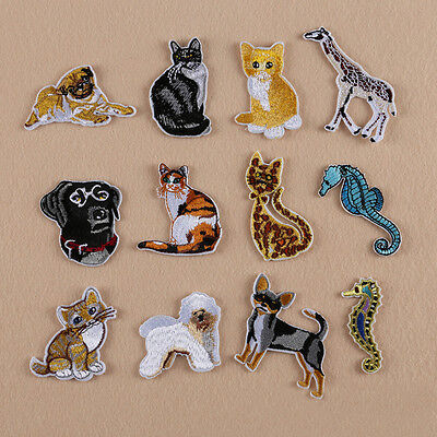 Iron Sew on Embroidered Badge Tiger Cat Dog Lion Wolf Motif Bag Patch Applique