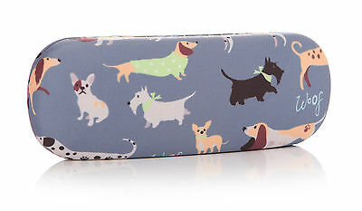 Blue Dog Design Oilcloth Hard Glasses Case - Spectacle Sungalsses Blue Cloth