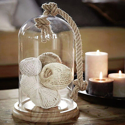 Glass Bell Jar Stolp With Rope Wooden Base Home Decoration Garden Dome Lantern