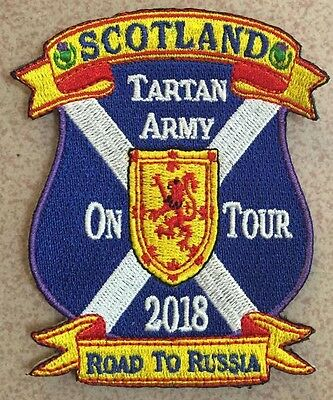 Scotland Tartan Army On Tour 2018 Road To Russia Embroidered Sew / Iron on Badge