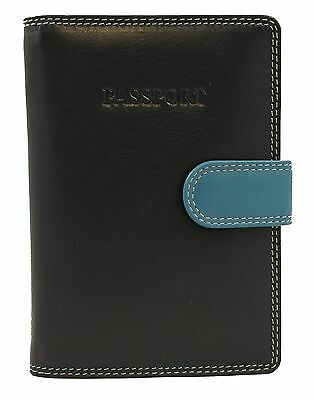 Passport Holder Cover Soft Leather Secure RFID Blocking Wallet, Blue