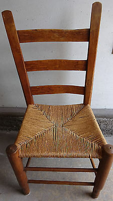 Antique Rustic Primitive Ladder Back Rush Seat Small Chair