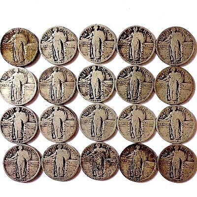 (20) Coins 90% Silver Standing Liberty Quarters.