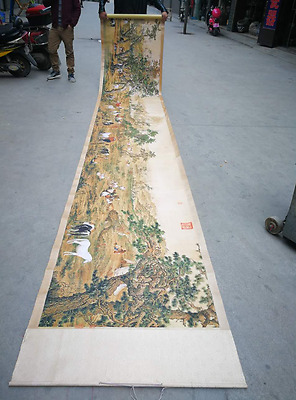 8M Rare antique chinese painting scroll Landscape painting Large hundred Horses
