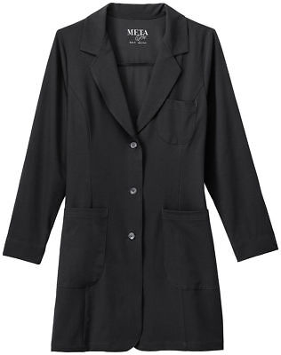 Meta Women's Three Pockets Long Sleeve Tri Blend Stretch Lab Coat. 885