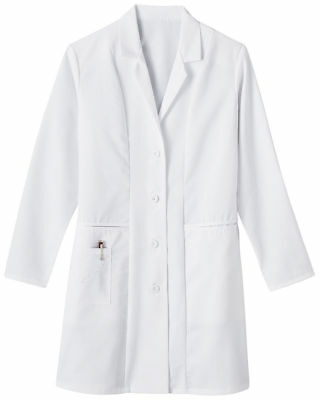 Meta Women's 36 Inches Long Sleeve Three Pockets Embroidered Lab Coat. 767