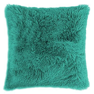 """Long Pile Super Soft and Cuddly Shaggy 17x17"""" (43x43cm) Cushion Cover, Teal"""